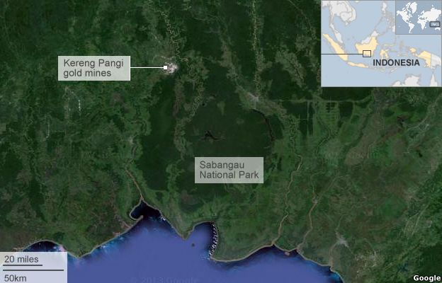 Google Earth image of Kereng Pangi gold mines