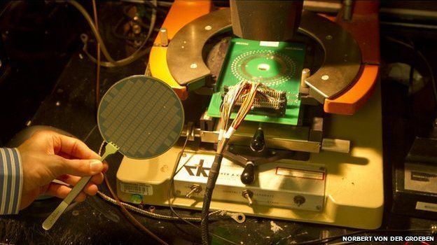 Carbon nanotube wafer next to computer using this technology