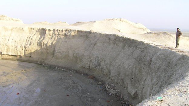 An undated photograph of Chandragup mud volcano crater in Pakistan.