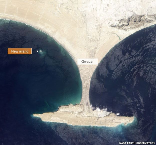 New island seen from space on 26 September 2013