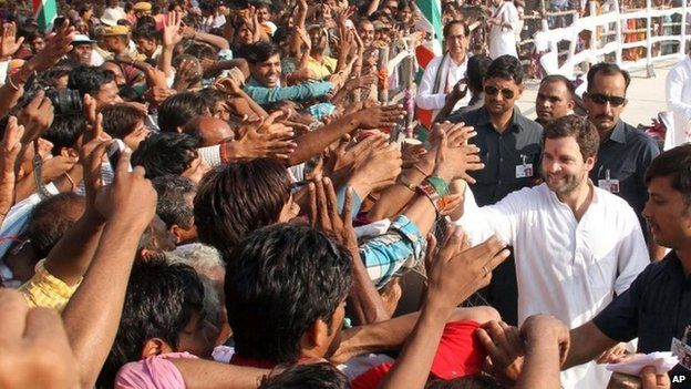 Congress party leader Rahul Gandhi during an election rally in Baran, in Rajasthan, Tuesday, Sept. 17, 2013