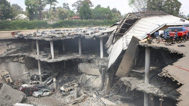 Remains of cars and other debris can be seen of the parking lot outside the Westgate Mall in Nairobi, Kenya - 26 September 2013