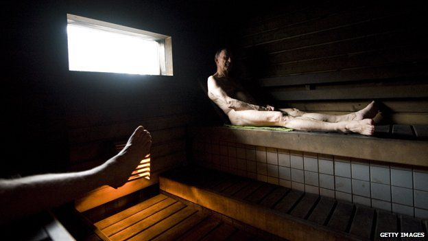 In a Finnish sauna