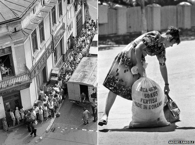 People queuing and woman struggles with bags