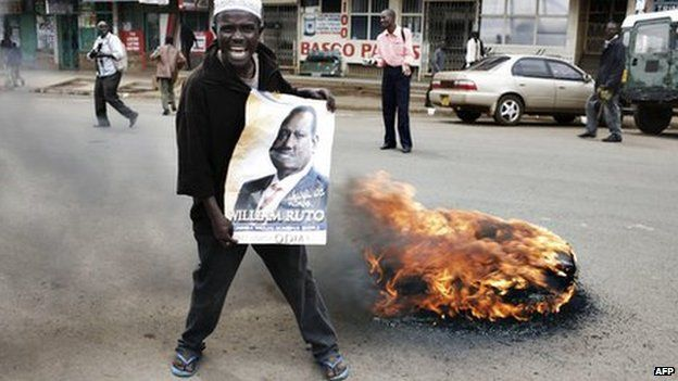 An opposition supporter demonstrates next to a burning tyre during a rally in Eldoret in Western Kenya (16 January 2008)
