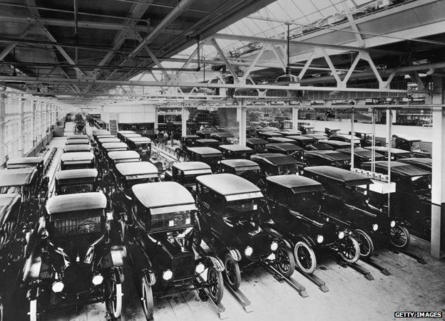 Model T Fords in the factory in 1925