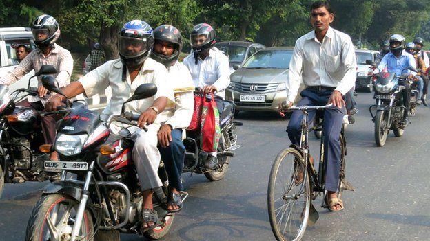 Indian cyclist on a Delhi street