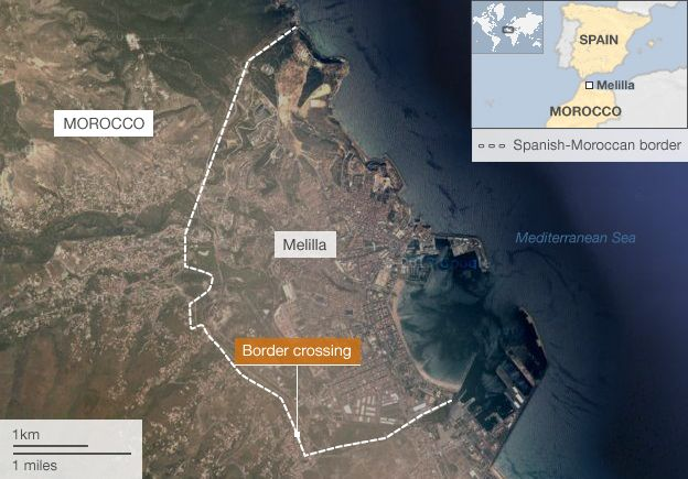 Melilla Spain Map.African Migrants Storm Spain S Melilla Morocco Border Bbc News