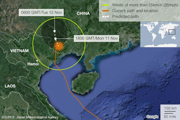 Map showing predicated path of typhoon