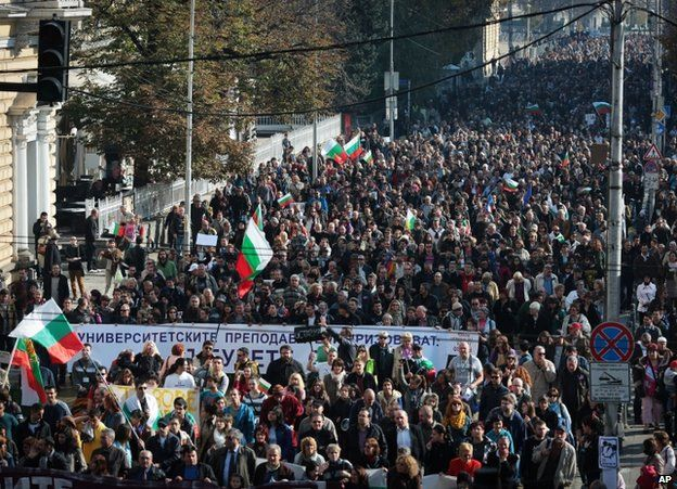 Protesters in Sofia, 10 November