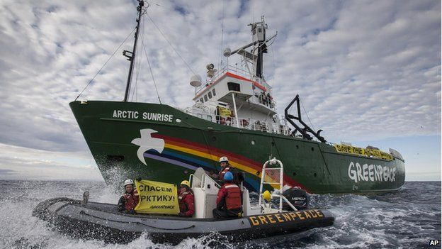 This image made available by environmental organization Greenpeace shows the Greenpeace ship Arctic Sunrise entering the Northern Sea Route (NSR) off Russia's coastline (Aug. 24, 2013)