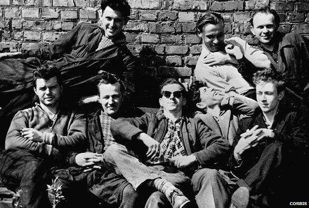 Lee Harvey Oswald with friends in Minsk