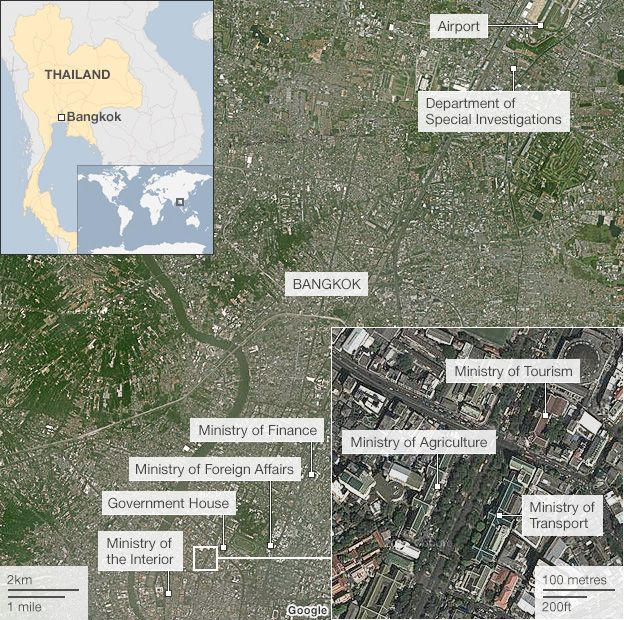 map of affected ministries in bangkok