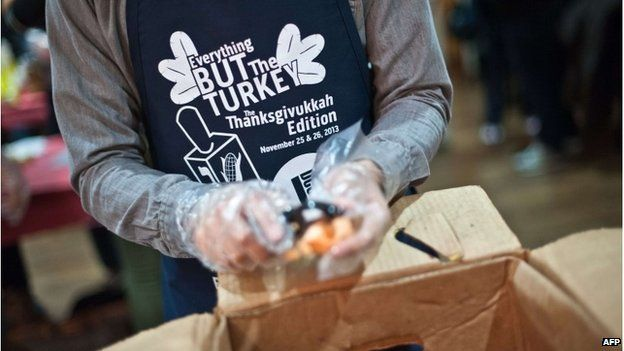 People preparing meals for the poor at a Jewish community centre in Washington DC