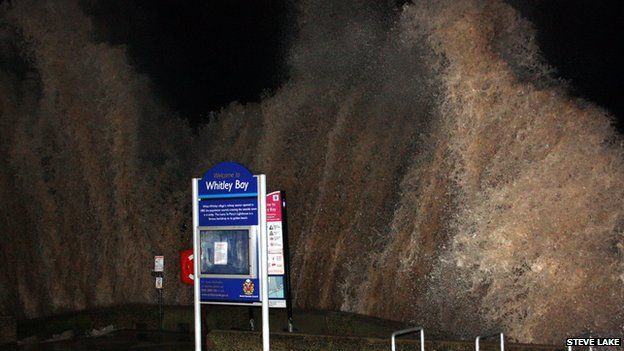 The tidal surge hit Whitley Bay, North Tyneside, at about 17:00 GMT