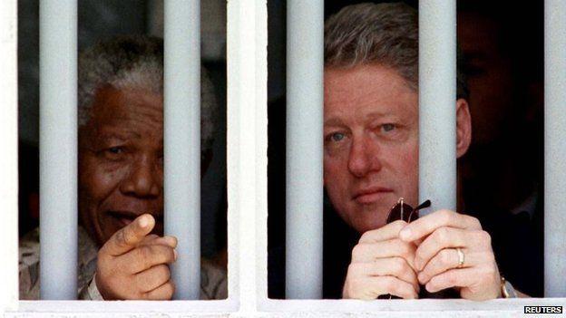 Nelson Mandela and Bill Clinton on Robben Island, 1998