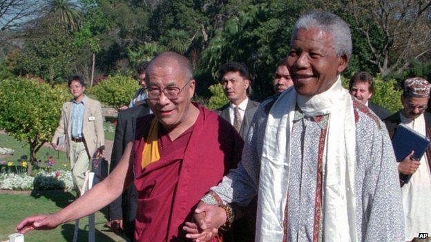Tibetan leader the Dalai Lama (left) with Nelson Mandela on 23 March, 2009