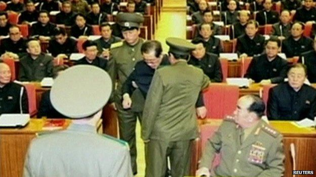 Chang song-thaek being removed from Politburo meeting