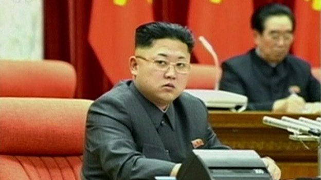 Kim Jong-un presiding over meeting