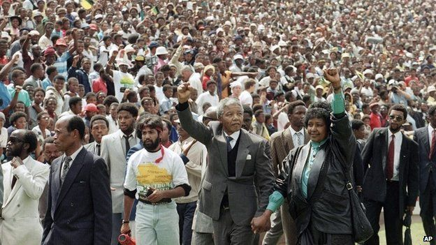 Nelson and Winne Mandela in Soccer City stadium in of Johannesburg, South Africa, shortly after his release from prison