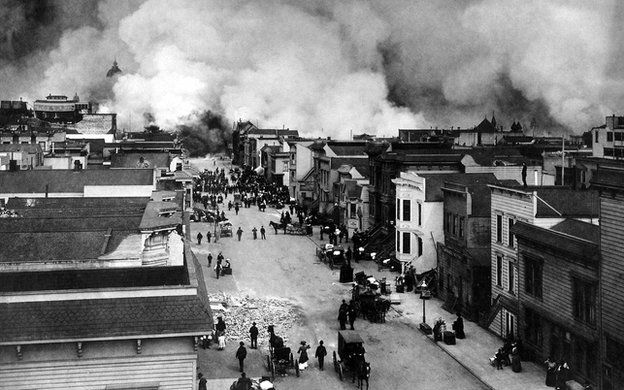 Burning in San Francisco's mission district in 1906