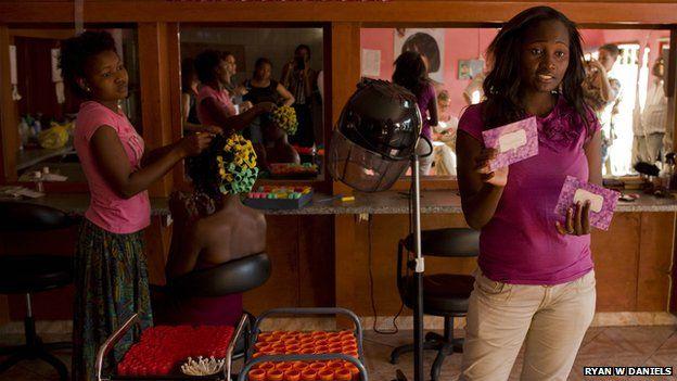 A hairdresser in Mozambique