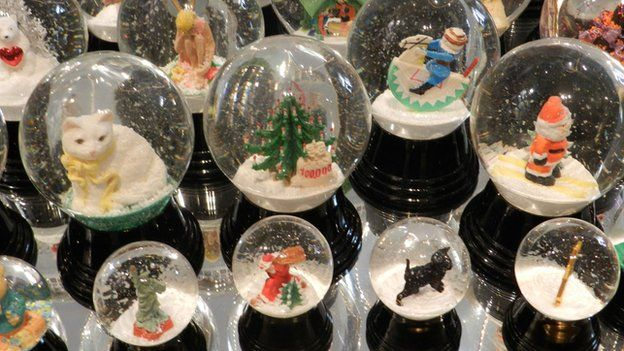 Various globes on display at Original Vienna Snow Globes