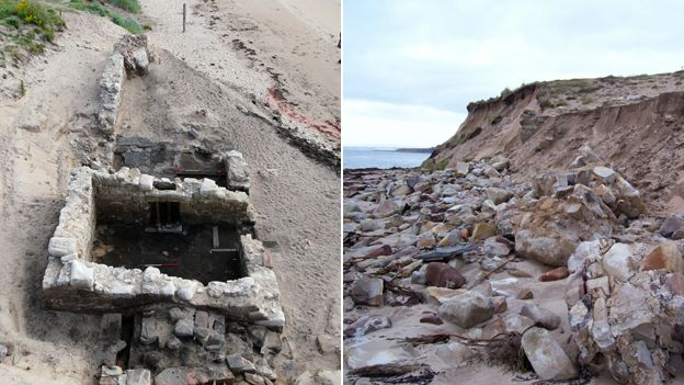 A before and after photo of what happened in a storm last year at Brora