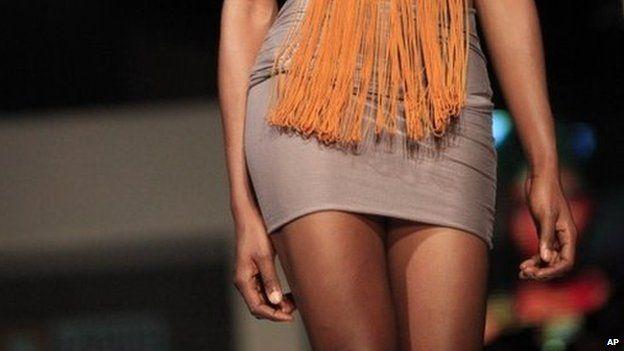 A model in a miniskirt