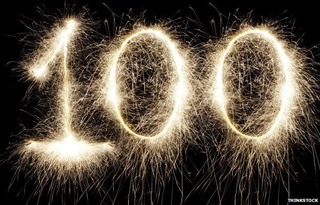 The number 100 in fireworks