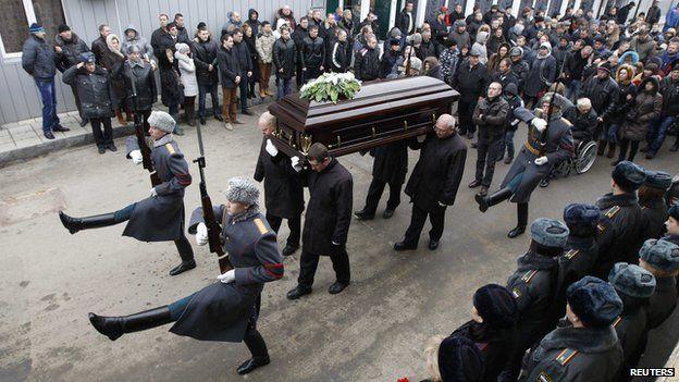 Funeral of policeman Dmitry Makovkin, 2 Jan 14