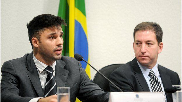 David Miranda and Glenn Greenwald at a press conference