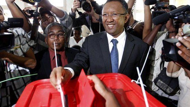 Hery Rajaonarimampianina casting his ballot on 20 December 2013 in Antananarivo, Madagascar