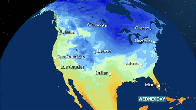Image Copyright Bbc Weather Weather Map Showing How The Polar Vortex Is Bringing Freezing Weather To The Us