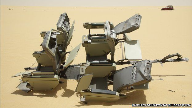 four aeroplane seats - debris still litters the desert today