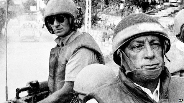 File pic June 1982: Ariel Sharon touring Israeli units in southern Lebanon