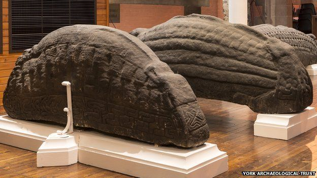 Five huge hogback monuments are in the Govan collection