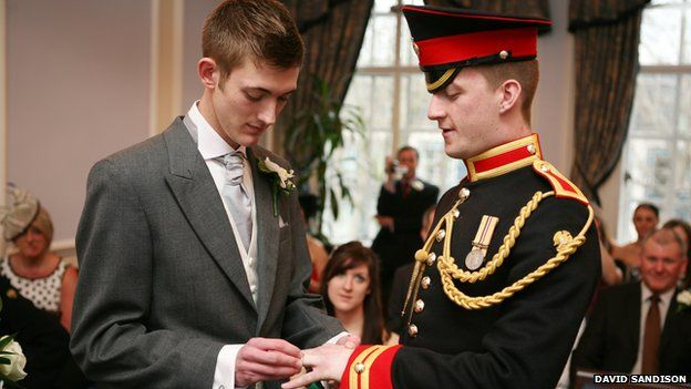 Tom and James's at their civil partnership ceremony