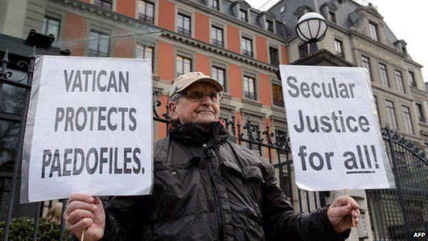 Demonstrator outside UN human rights agency in Geneva - 16 January