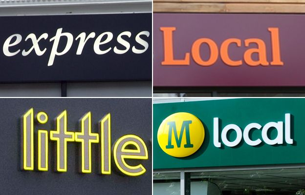 From top left: Tesco Express, Sainsbury's Local, Morrisons Local, Little Waitrose