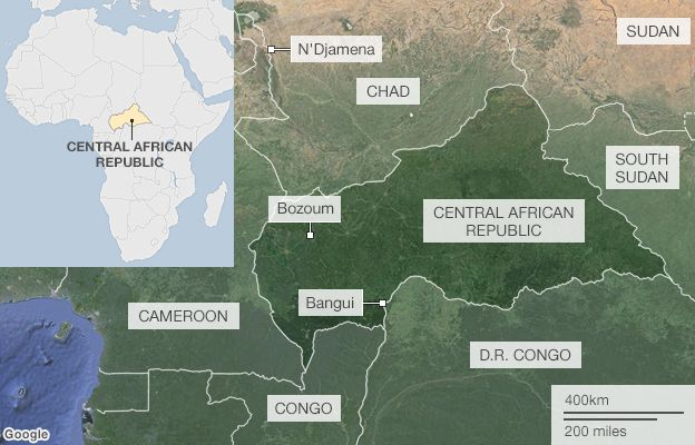 Map showing the location of the Central African Republic and the countries that border it