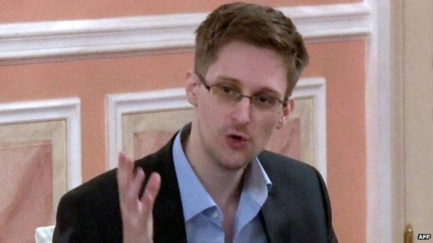 An image grab taken from a video released by Wikileaks on 12 October 2013 shows US intelligence leaker Edward Snowden speaking during a dinner with US ex-intelligence workers and activists in Moscow on 9 October 2013