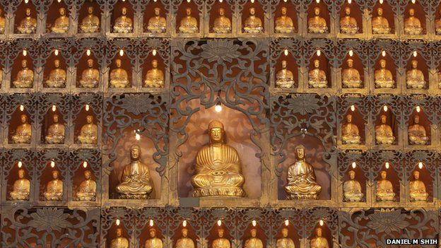 Statues of the Buddha at the Fo Guang Shan temple in southern Taiwan