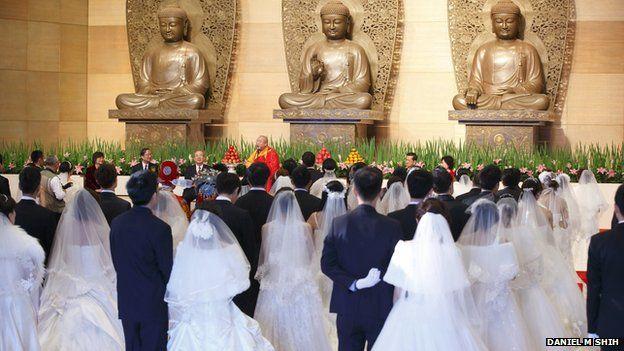 A mass wedding at Dharma Drum Mountain in northern Taiwan