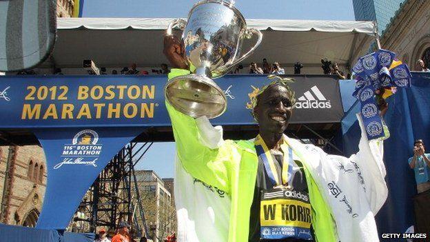 Wesley Korir of Kenya, the winner of the Boston 2012 marathon