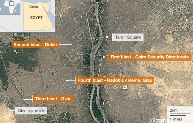 Map showing blast sites