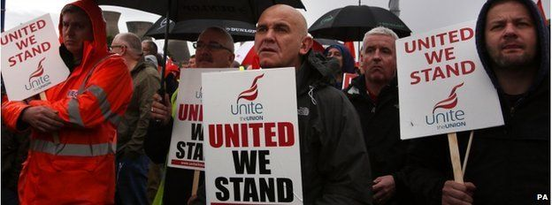 Workers holding Unite union placards