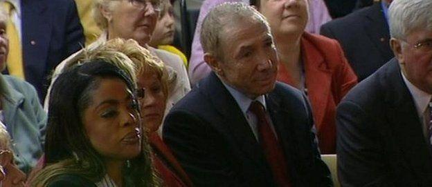 David Abrahams, centre, watching Tony Blair's farewell speech as PM