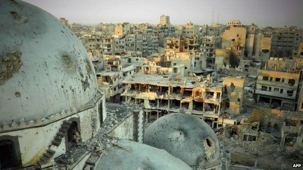 Homs skyline, from the roof of the damaged Khalid ibn al-Walid mosque (25 July 2013)
