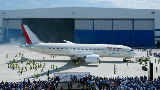 First Boeing 787 Dreamliner rolled out at Boeing's North Charleston factory, South Carolina, April 2012